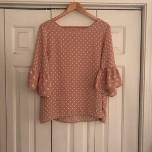 Pink and cream polka dot top